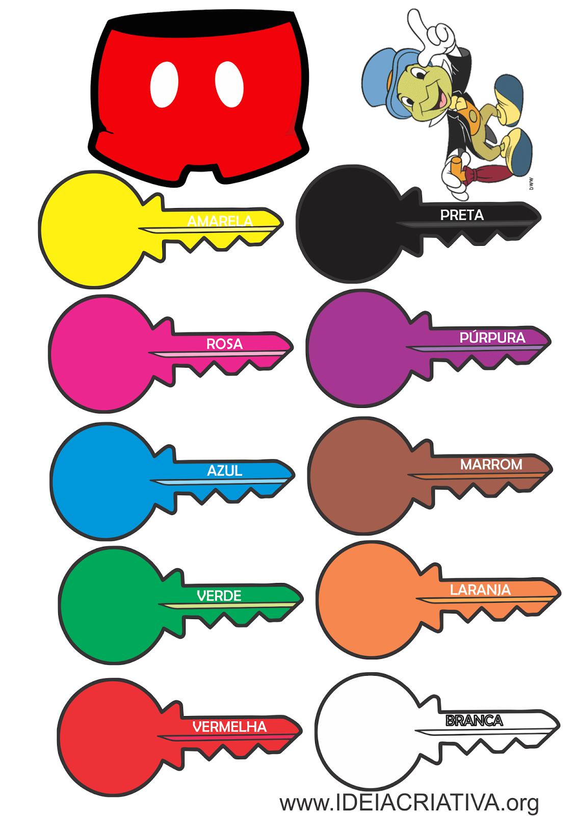 chaves cores para imprimir