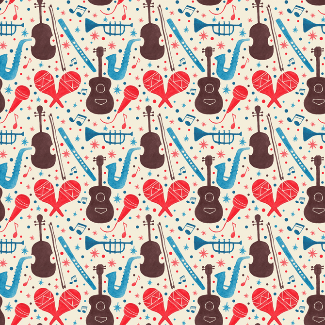 Music Instruments Pattern Watercolor Illustration by Haidi Shabrina