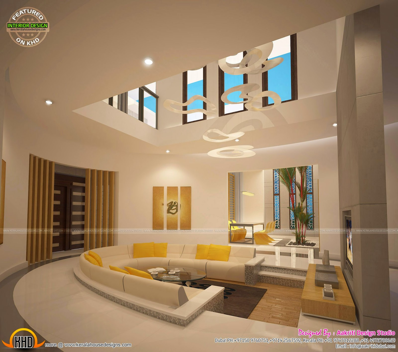 Awesome interiors of living kitchen and bathroom kerala for Interior designs for homes pictures