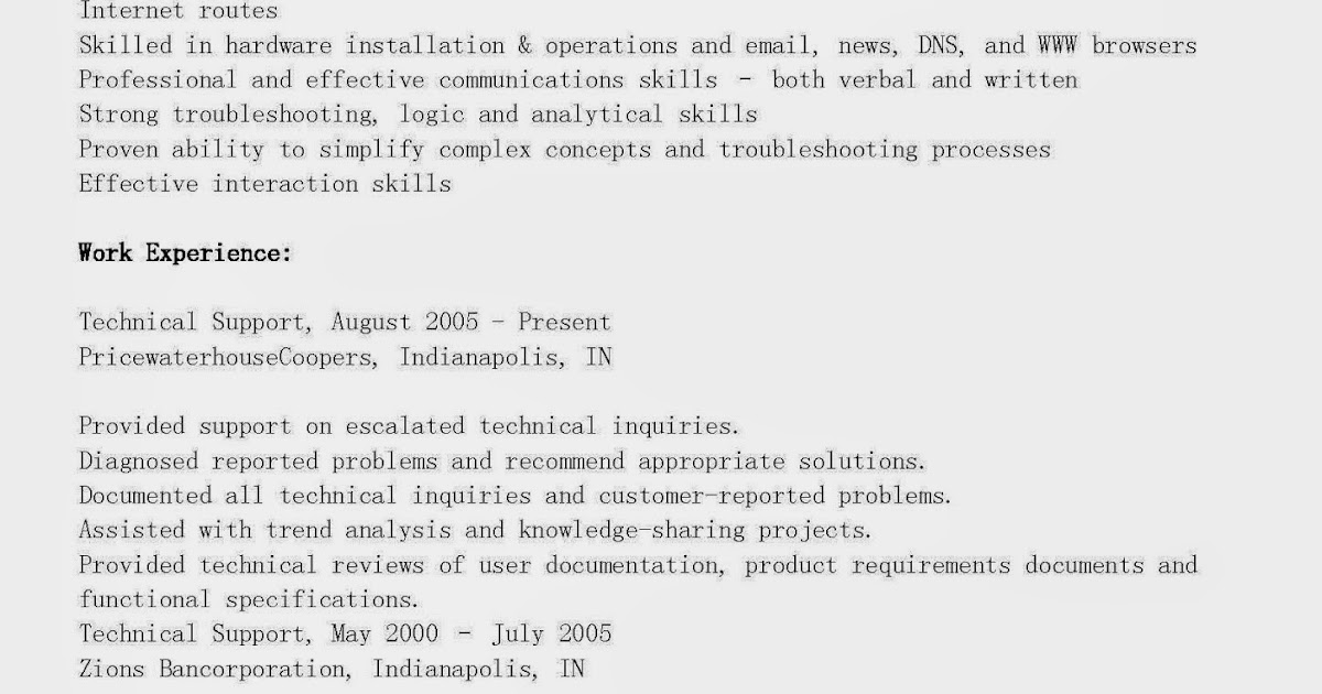 resume samples  technical support resume sample