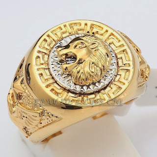 A1-R069 Men's 19mm Band Ring Cool Lion Eagle Star 18KGP Size 7-15