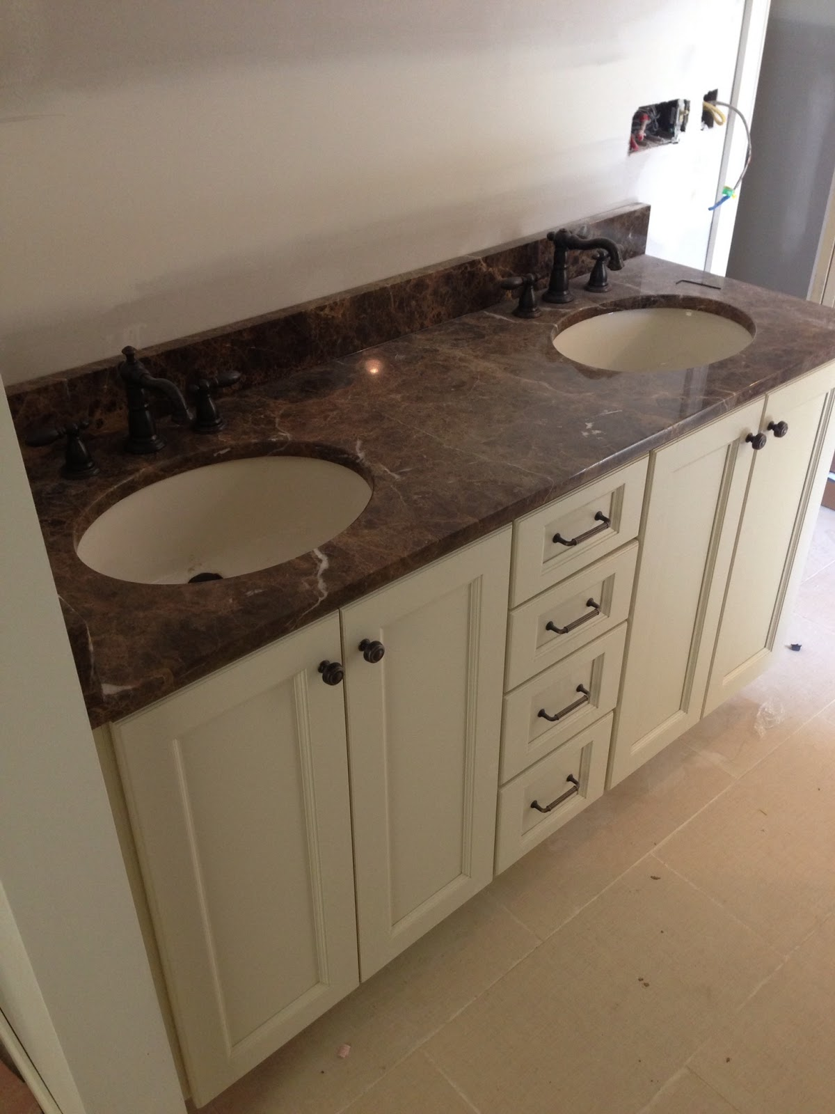 master bathroom vanity we went with a cream colored cabinet and a