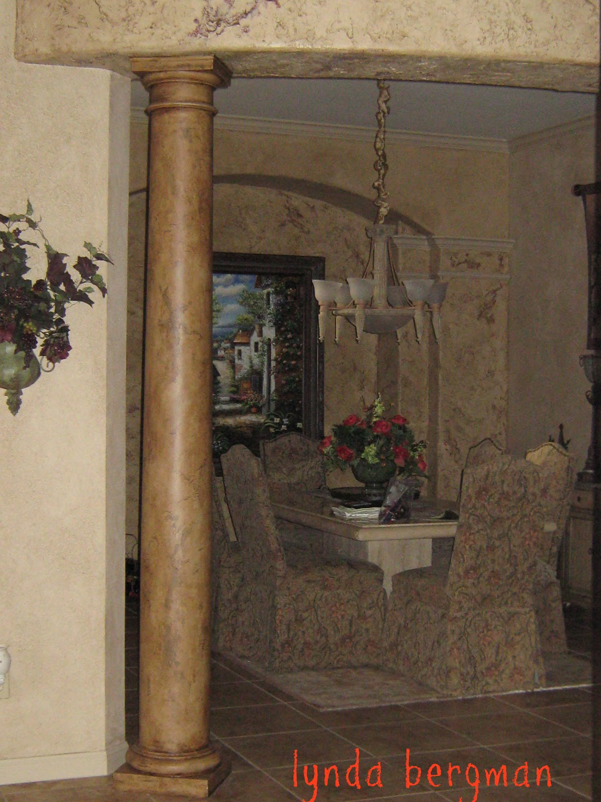 Lynda Bergman Decorative Artisan Painting Columns Mantel From White To Look Like Wood Old