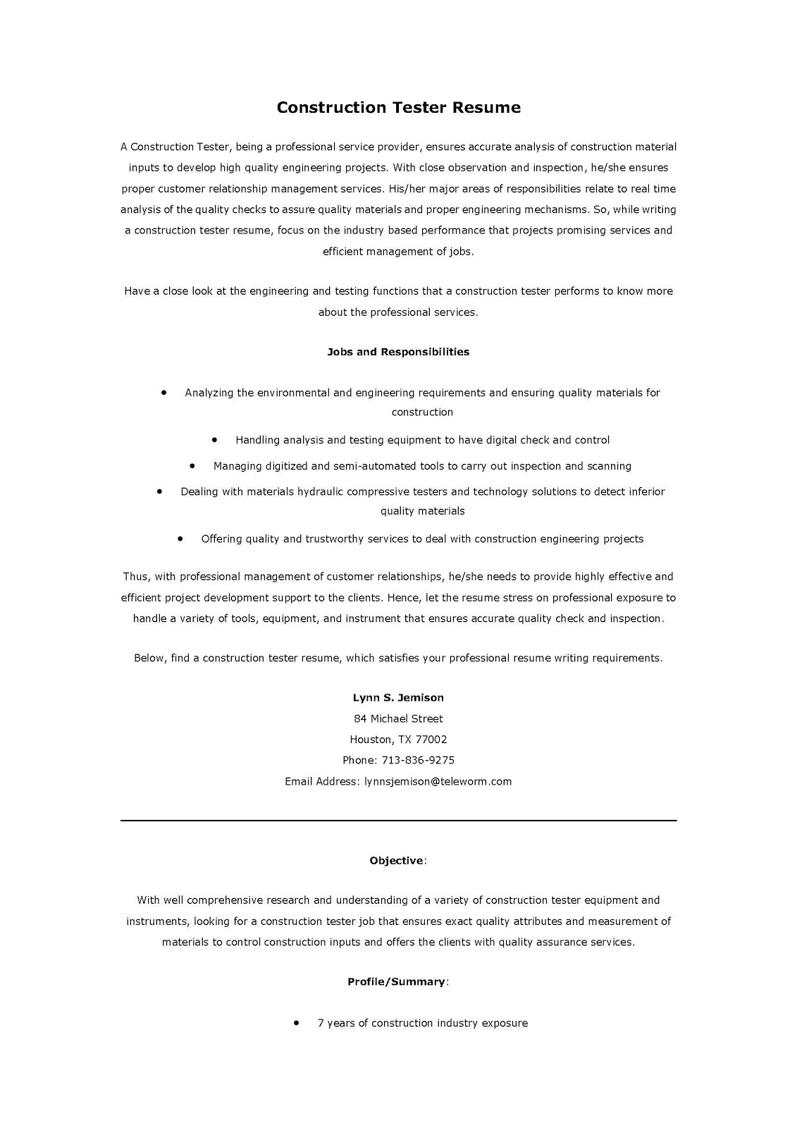resume samples  construction tester resume