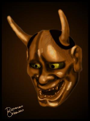 Ilustração de Máscara Hannya feita em Photoshop