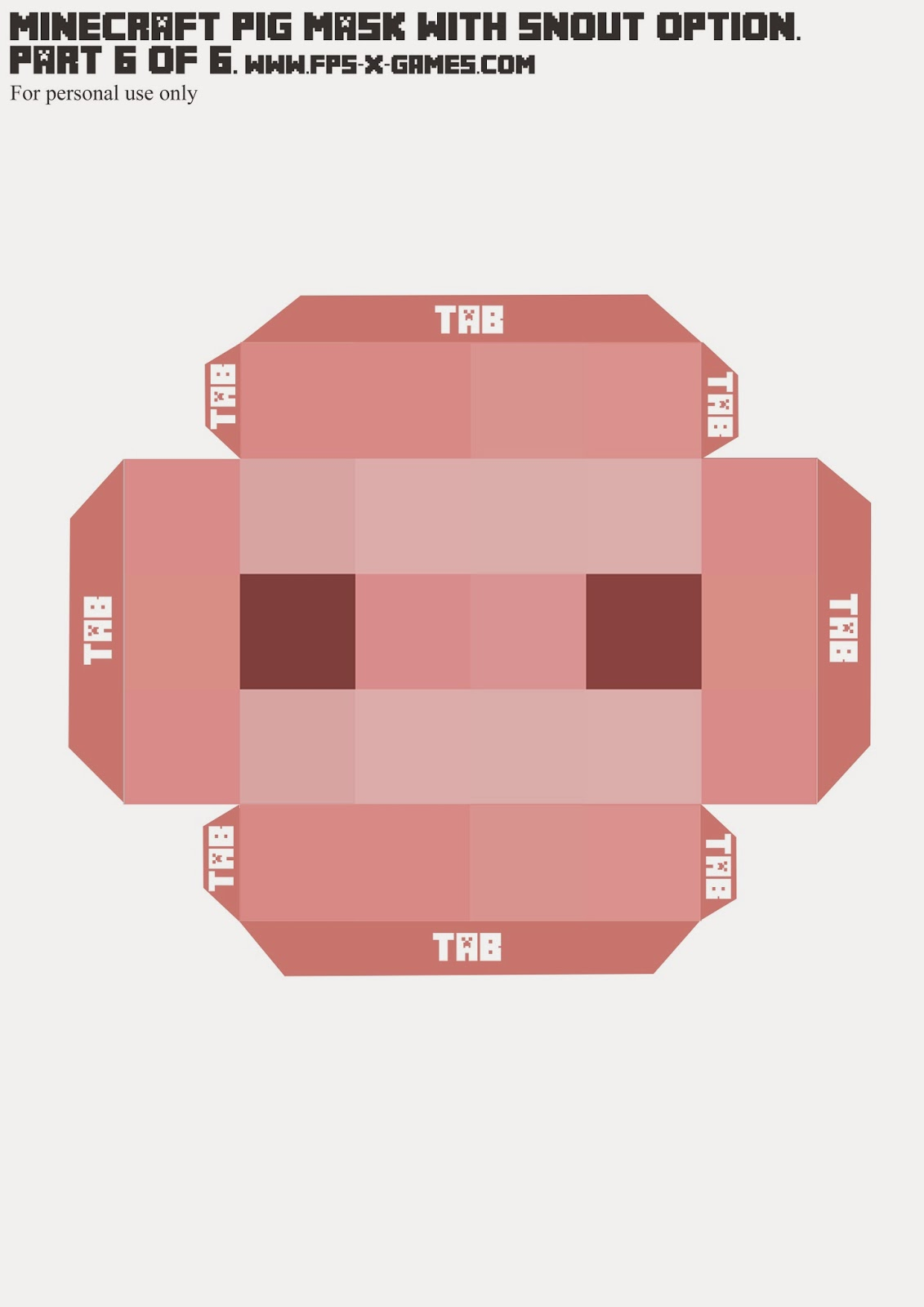 Printable Minecraft pig mask, template 6 of 6