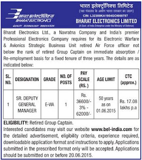 Bharat Electronics Ltd (BEL) Electronic Warfare and Avionics Strategic Business Unit Recruitments (www.tngovernmentjobs.in)