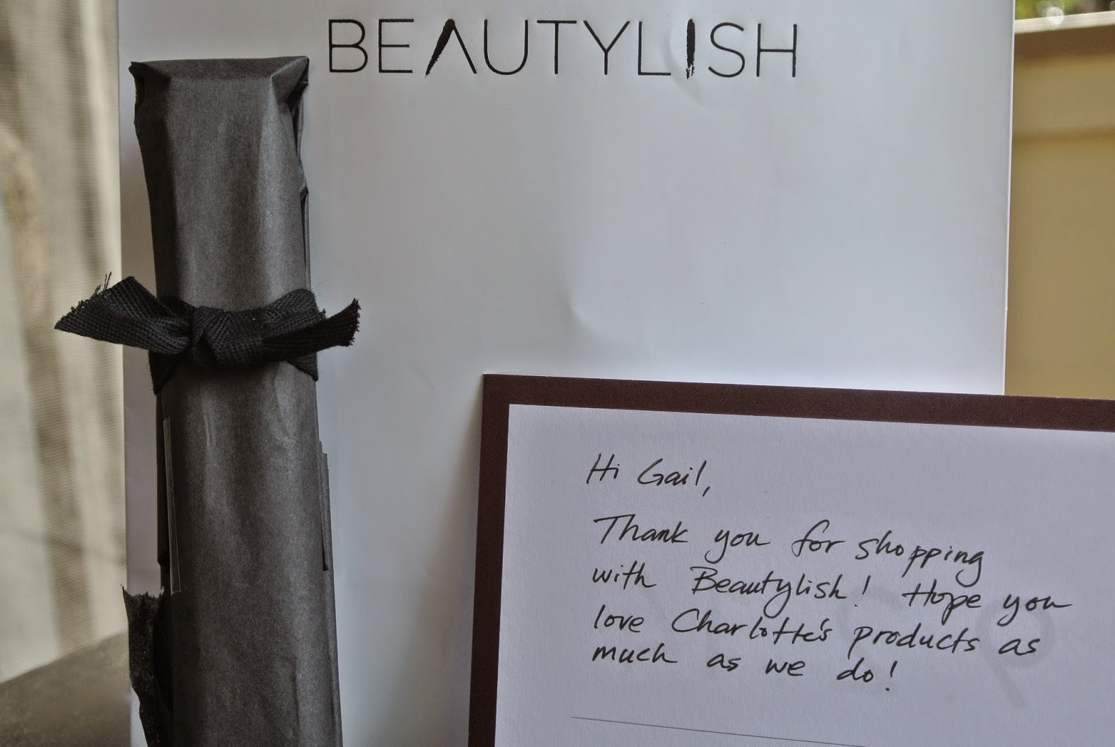 Beautylish packaging, handwritten note