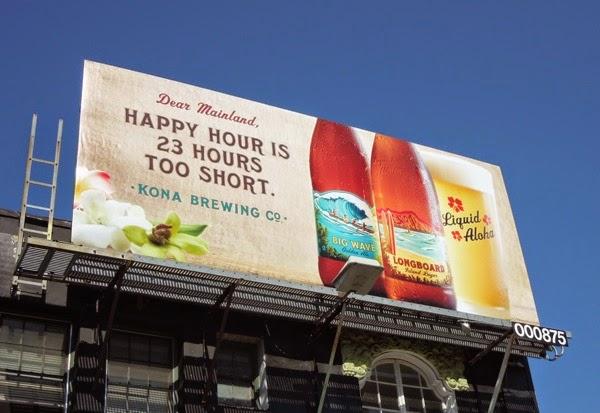 Happy hour 23 hours too short Kona Brewing billboard