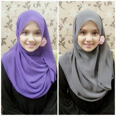 model shawl polos hijab