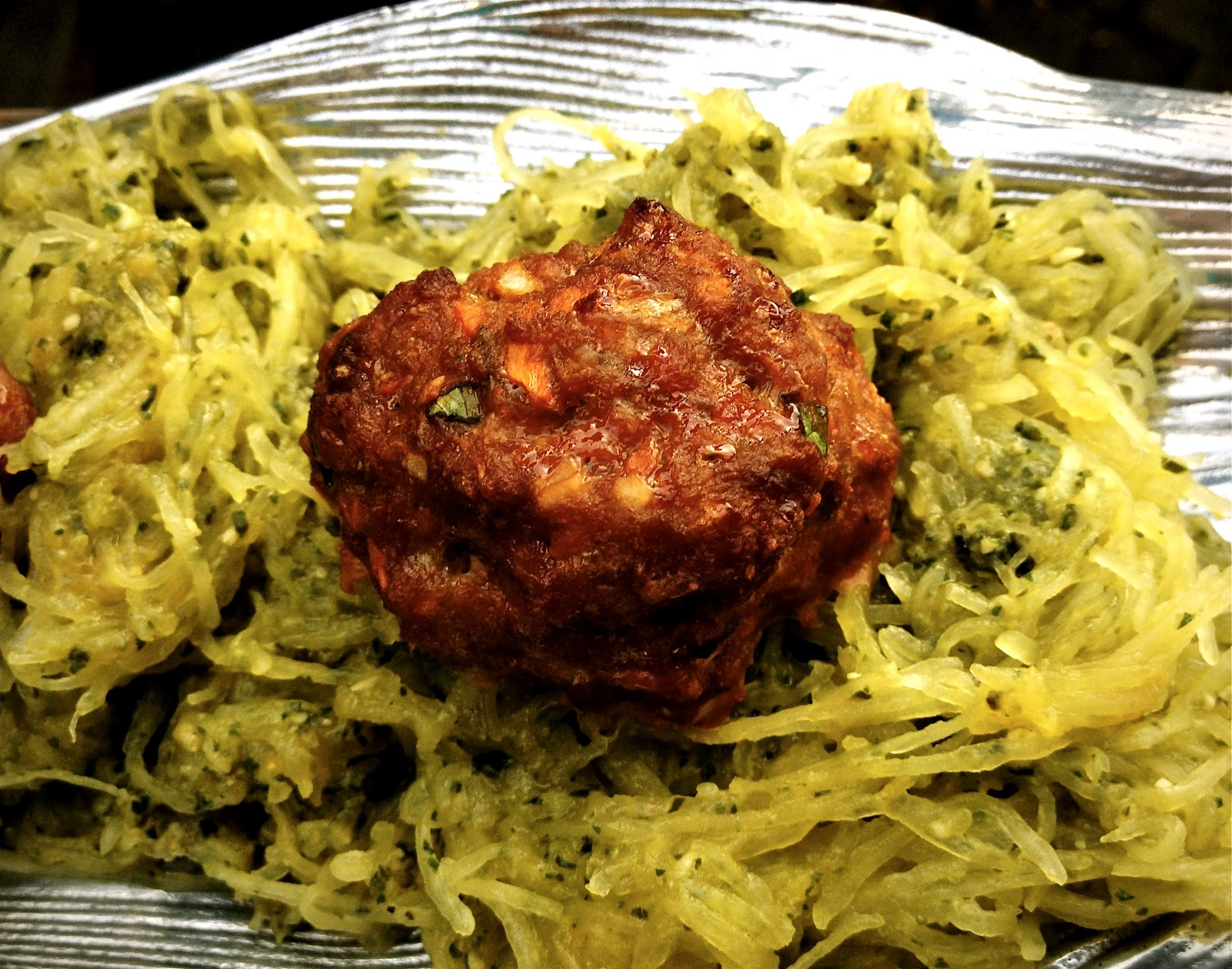 Gluten Free Meatballs with Pesto Spaghetti Squash