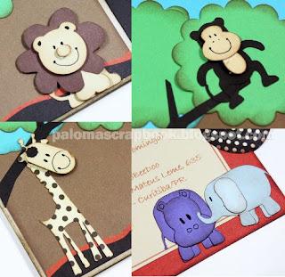convite scrapbook, lembrancinha scrapbook,tema safari,ideia convite aniversario, convite personalizado
