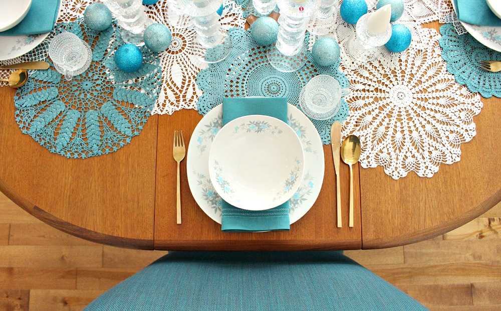 Teal and white holiday table