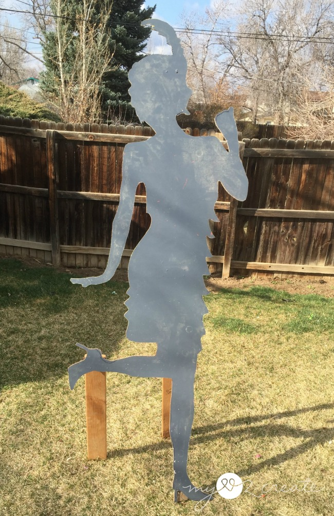 Life sized cut out of a flapper girl