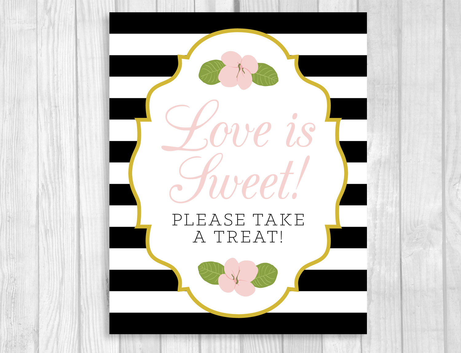 Weddings by susan black and white striped printable bridal shower black and white striped printable bridal shower signs with gold borders and pink floral accents dhlflorist Choice Image