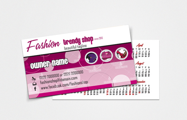 Fashion Business Card with 2013 Calendar