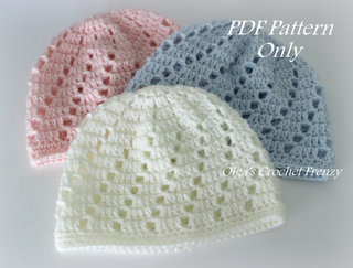 Baby Beanie Crochet Pattern, Size 0-3 Months, $2.35