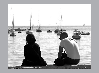 Couple sitting by the bay, Villefranche