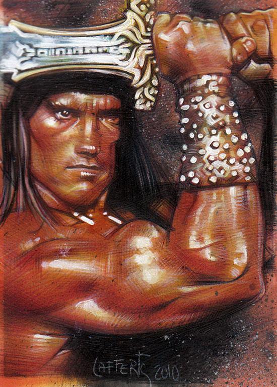 Conan, original sketch card by Jeff Lafferty