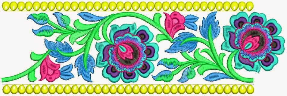 kulturele blom masjien borduurwerk kant grens