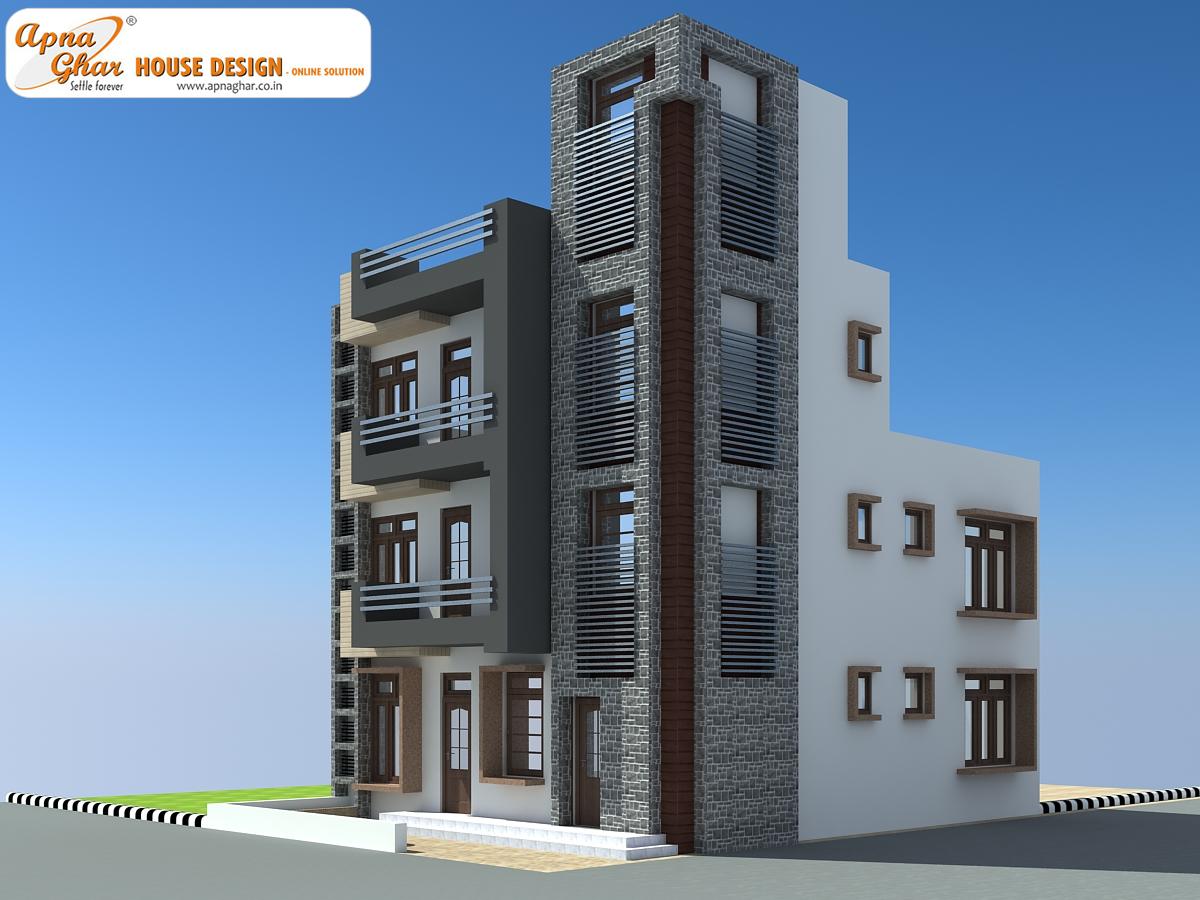 Triplex house elevation joy studio design gallery best for Triplex designs