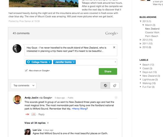 Комментарии Google+ в Blogger