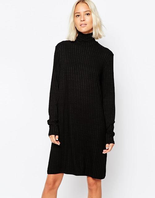 weekday black knit dress, black jumper dress,