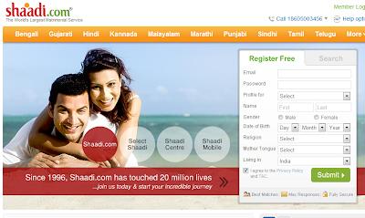 Shaadi homepage