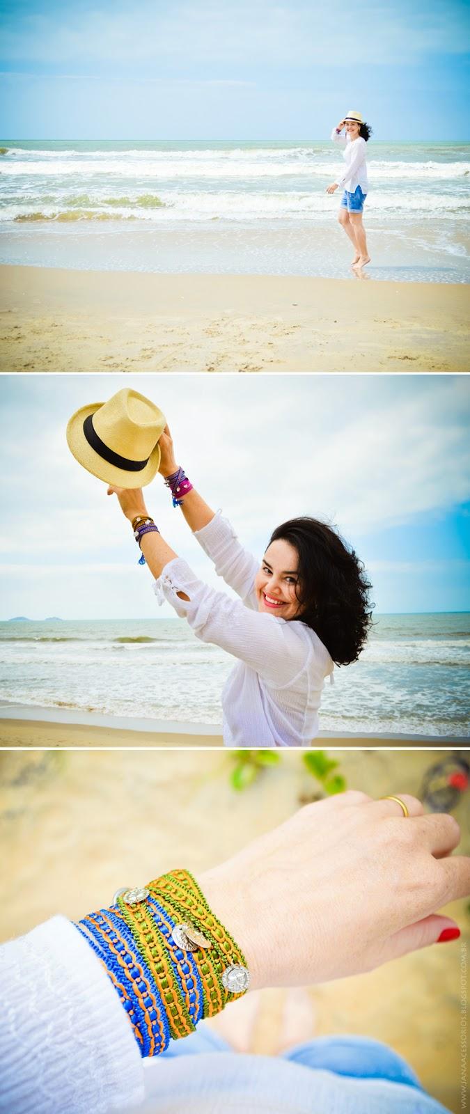 praia, jana acessórios, blogueira, bata, short, blogger, chapéu, panamá, pulseirismo, blog da jana, joinville, blogueira, jana, moda, estilo, blogger, chemisier, Look da Jana
