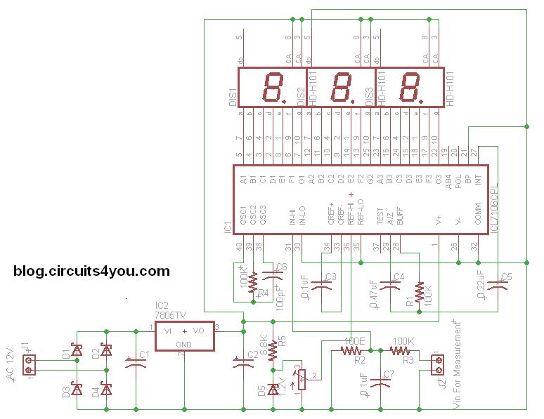 icl7107 digital voltmeter circuits4you com icl7107 dc voltmeter circuit