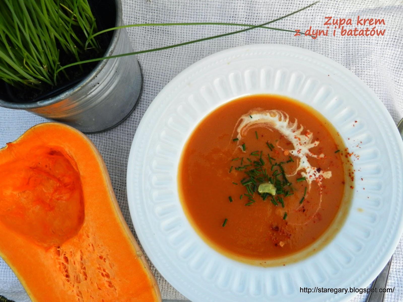 Zupa krem z dyni i batatów, w wolnowarze