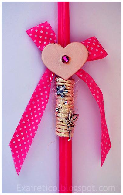 Χειροποίητη πασχαλινή λαμπάδα με ροζ πουά κορδέλα, καρδιά από δέρμα, με φούξια Swarovski, χοντρό κορδόνι, μεταλλικά στοιχεία (νεράιδα, αστερίας) και κρύσταλλα Swarovski!