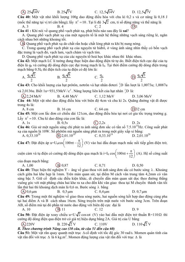 đáp án đề thi đh môn lý khối a 2013