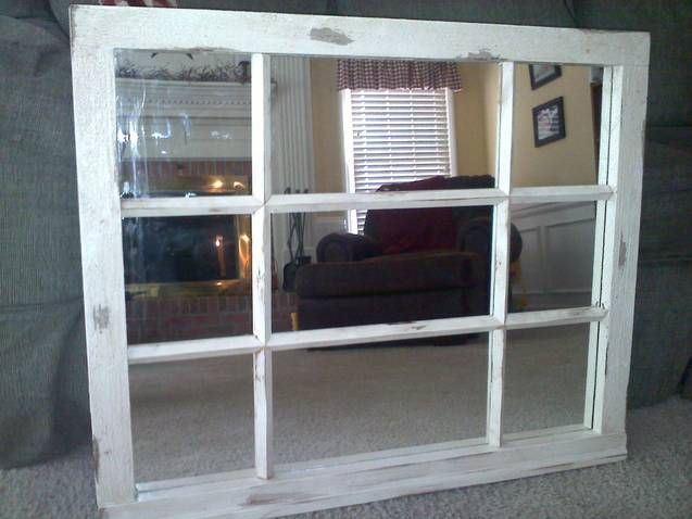 undecorated distressed window frame with mirror - Distressed Window Frame