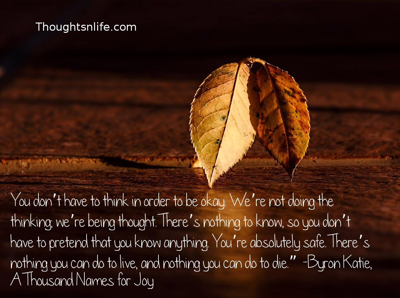 "Thoughtsnlife.com: You don't have to think in order to be okay. We're not doing the thinking; we're being thought. There's nothing to know, so you don't have to pretend that you know anything. You're absolutely safe. There's nothing you can do to live, and nothing you can do to die."" -Byron Katie, A Thousand Names for Joy"