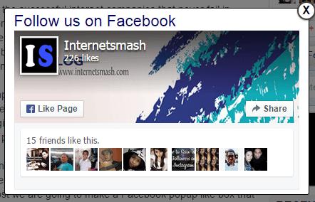Facebook Popup like box