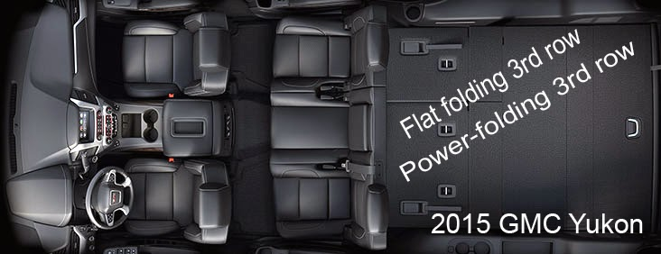 2015 GMC Yukon interior, 3 row flat folding, power folding