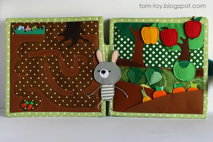 Bunny day quiet busy book for children, pretend play, marble maze, развивающая книжка день зайчика, лабиринт, огород