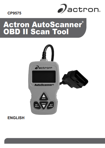 Actron AutoScanner OBD II Scan Tool Manual