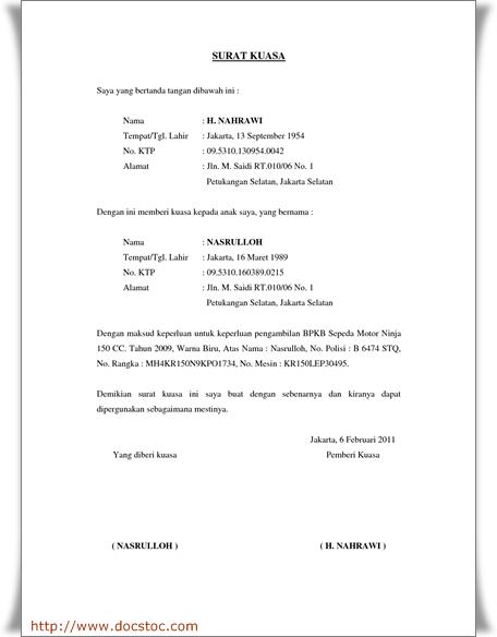 Contoh Format Surat Kuasa Pengurusan Administrasi Pembangunan Usaha
