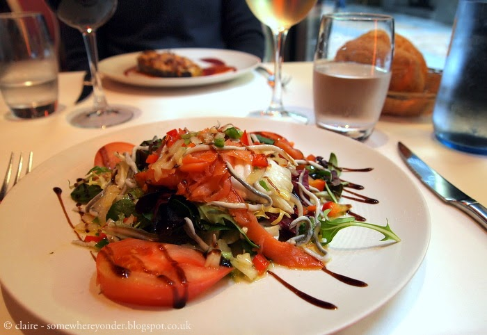 lunch starter: salmon salad - Bilbao, Spain