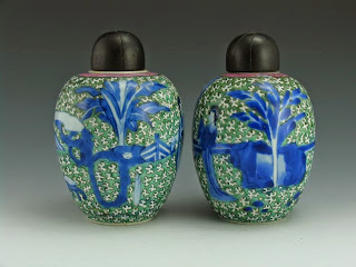 18th C. Kangxi Famille Verte Tea Jars