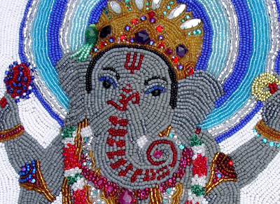 Janet Dann, bead embroidery, ganesh, head detail