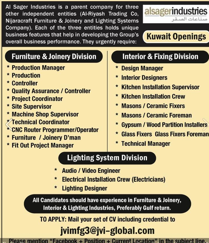 Al Sagar Industries Kuwait Job Openings