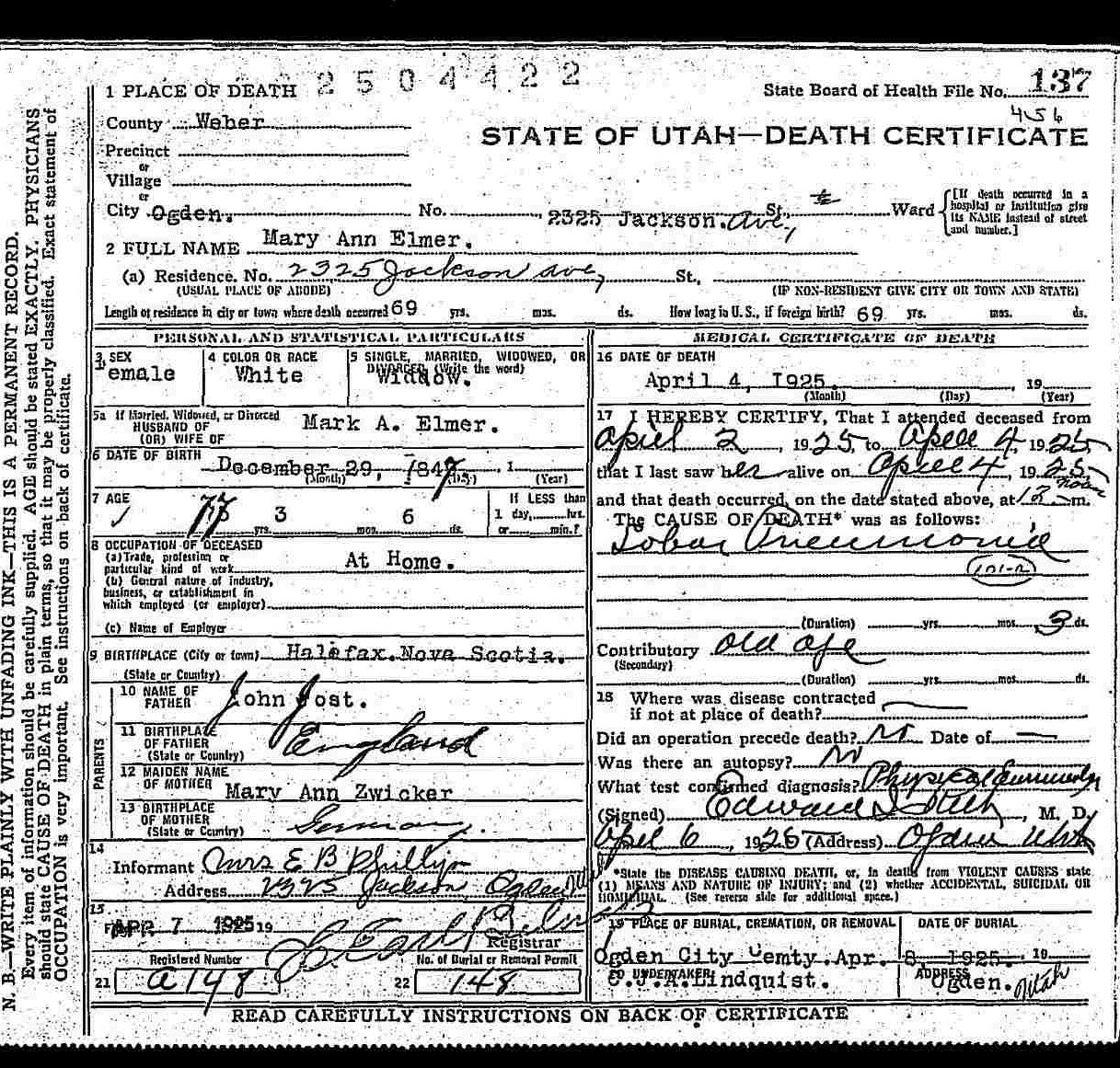 Stagge parker histories mary ann jost elmer 1847 1925 utah death certificates 1904 1956 for mary ann elmer 1betcityfo Choice Image