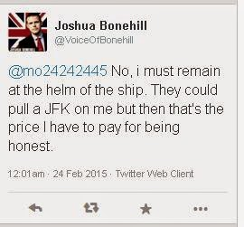 "Twitter - Joshua Bonehill performing his usual ""I'll die for the cause"" line..."