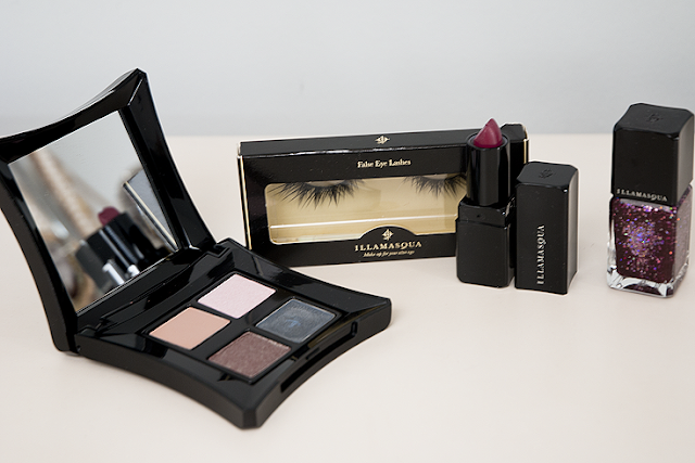 illamasqua eyeshadow palette lipstick false eye lashes nail polish duo