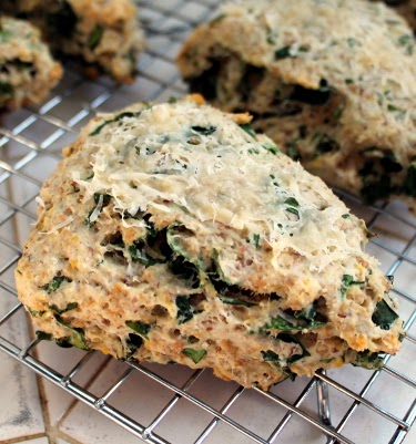 multigrain scones with chard and parmesan