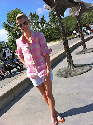 Shirt, J. Crew Factory, white Shorts, Banana Republic, Shoes-Aldo, Short Necklace, Red Envelope, Max and Chloe, Long Necklace, J. Silver, Watch, Michael Kors,  Bracelet, Nadri,  Nordstom, Earrings, Nadri earrings, Sunglasses Ray Ban, Nordstrom, the perfect shirt, c. style, carly, lee, houston, zoo, casual sandals, casual white shorts, herman park train, herman park