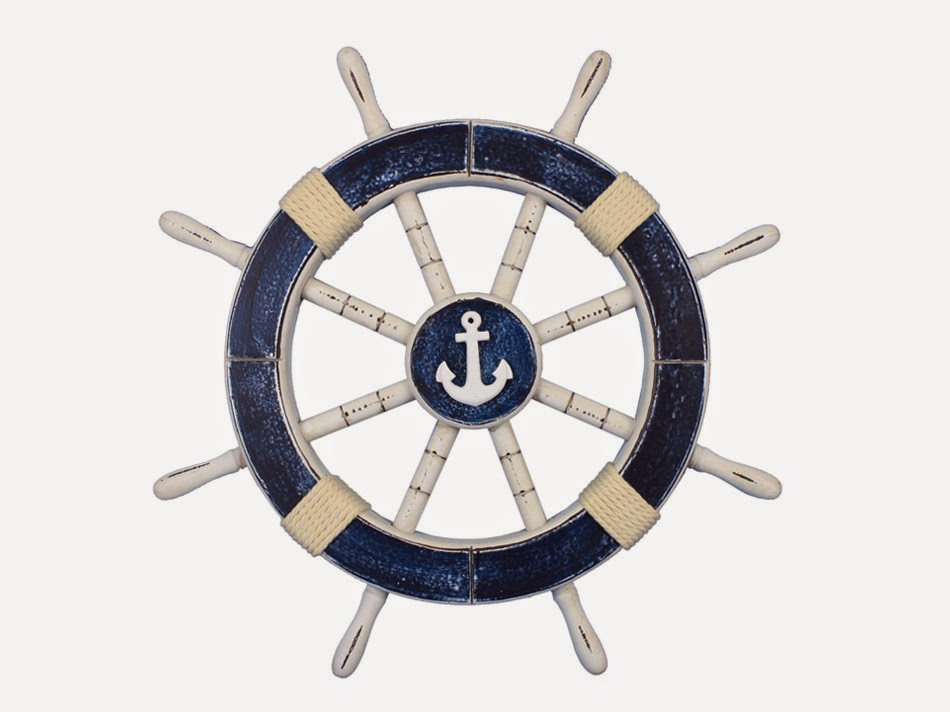 Rustic Dark Blue Decorative Ship Wheel with Anchor